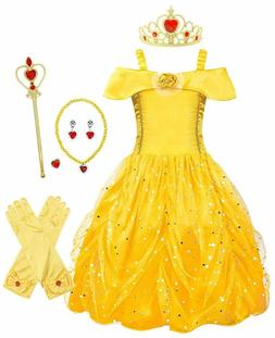 AmzBarley Princess Belle Costume for Girls Fancy Party Delux