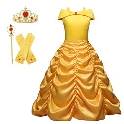 Princess Belle Yellow Off Shoulder Layered Costume Dress Wit