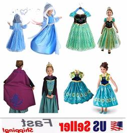 Princess Elsa Anna Role Cosplay Dress up Costume Dress for G