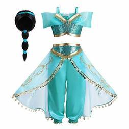 Princess Jasmine Cos Costume Outfit Kids Girls Aladdin Hallo