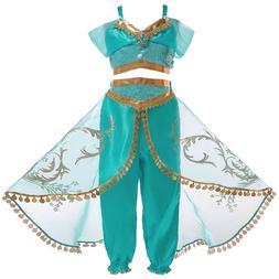 Princess Jasmine Cosplay Costume Outfit Kids Girls Aladdin H