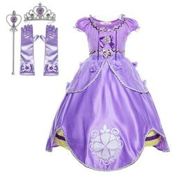Princess Purple Costume Kids Toddler Halloween Party Fancy D