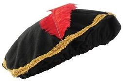 Red Feather Renaissance Hat with Gold Trim