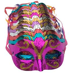 Arlai Pack of 12, Gold shining plated party mask wedding pro