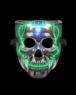 Silver Light Up LED Smiling Skeleton Skull Mask Halloween Co