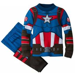 Disney Store Marvel Captain America Costume PJ PALS Boys Siz