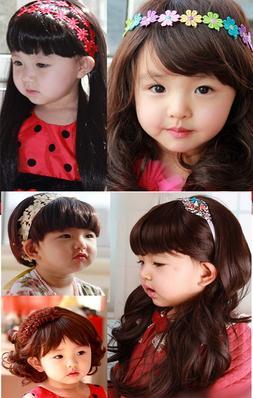 Super Cute Children Kid Full Wigs Cosplay Costume Sweet Wavy