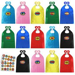 ADJOY Child Super Hero Capes and Masks Bulk Pack - DIY Super