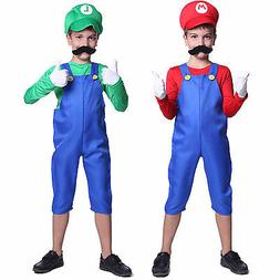 New Kids Super Mario Costume Teen Boys Clothes Fancy Dress P