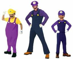 Super Mario Waluigi Wario Costumes Adult and Child STD Delux