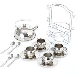 Timy Toy Tea Set 14pcs Stainless Steel Teapot Pretend Play T