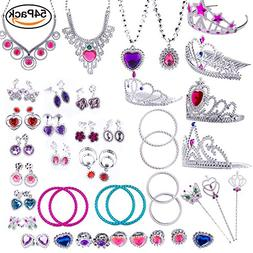 WATINC 54pcs Jewelry Toy,Girl's Jewelry Dress Up Play Set,In