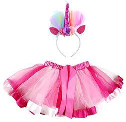 AOVCLKID Unicorn Costumes Little Girls Rainbow Layered Tulle