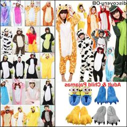 Unisex Kids Adult Animals Pajamas Cute Cosplay Party Jumpsui