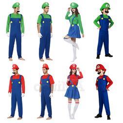 Unisex Kids Mens Super Mario Cosplay Costumes Luigi Brother