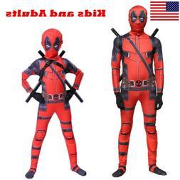 US! Adults Kids Deadpool Man Spandex Lycra Zentai Halloween
