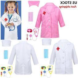 US Doctor Coat Fancy Dress Costume Kids Boys Girls Nurse Par