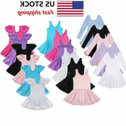 US Girls Gymnastics Ballet Dress Kids Leotard Tutu Skirt Dan