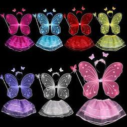US Girls Kids Fairy Wings Butterfly Fancy Dress Up Costume P