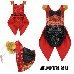 US Kids Baby Girls Ringmaster Woman Costumes Circus Tailcoat