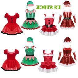 US Kids Girls Christmas Costumes Santa /Elf Dance Fancy Dres
