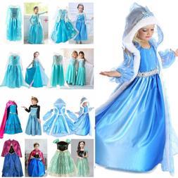 Girls Cartoon Elsa Anna Princess Dress Kids Cosplay Costume