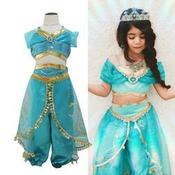 US Princess jasmine Costume Outfit for Kids Girls Aladdin Fa