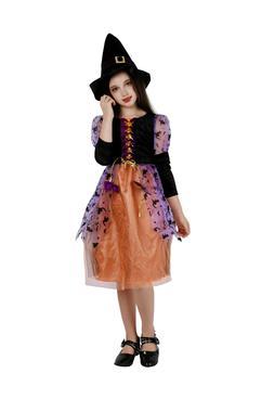 Witch Costume Girls Halloween Party Kids Deluxe Wizard Queen