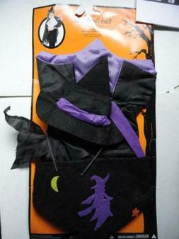 Witch Costume Kit Black Purple Girls Kids Accessories SZ Chi