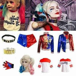 Women Kids Girls Suicide Squad Harley Quinn Costume suit Par