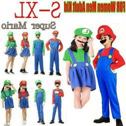 Women Men Adults Kids Super Mario Luigi Bros Cosplay Fancy D
