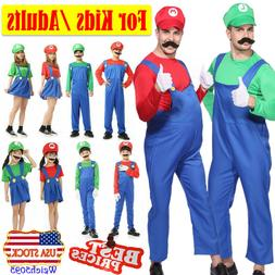 Women Mens Adults Kids Super Mario Luigi Bros Cosplay Fancy
