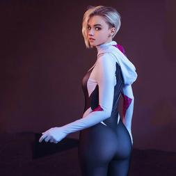 Women Spider Gwen Stacy Lycra Zentai Spiderman Costume Hallo