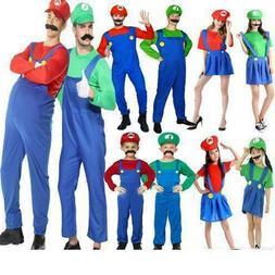 Womens Men Adults Kids Super Mario Luigi Bros Cosplay Fancy