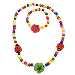 Spinnaker Collection Kids Wooden Ladybug and Flower Necklace
